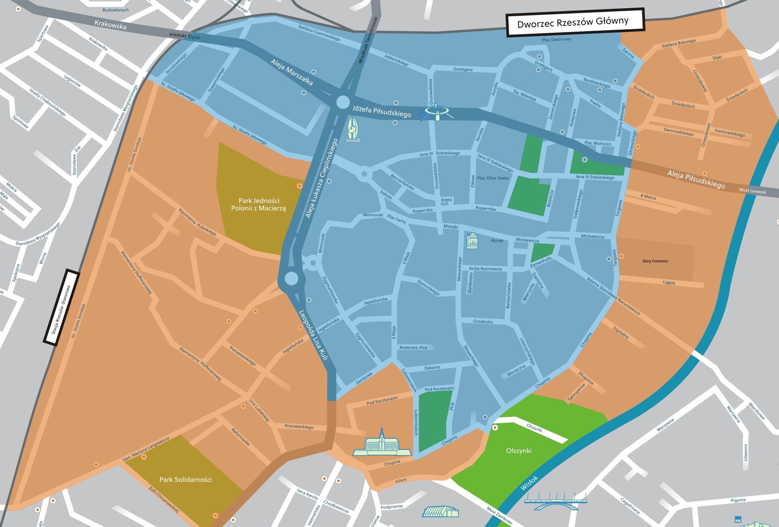 Fot. Urząd Miasta Rzeszowa. Na zdjęciu mapa strefy płatnego parkowania