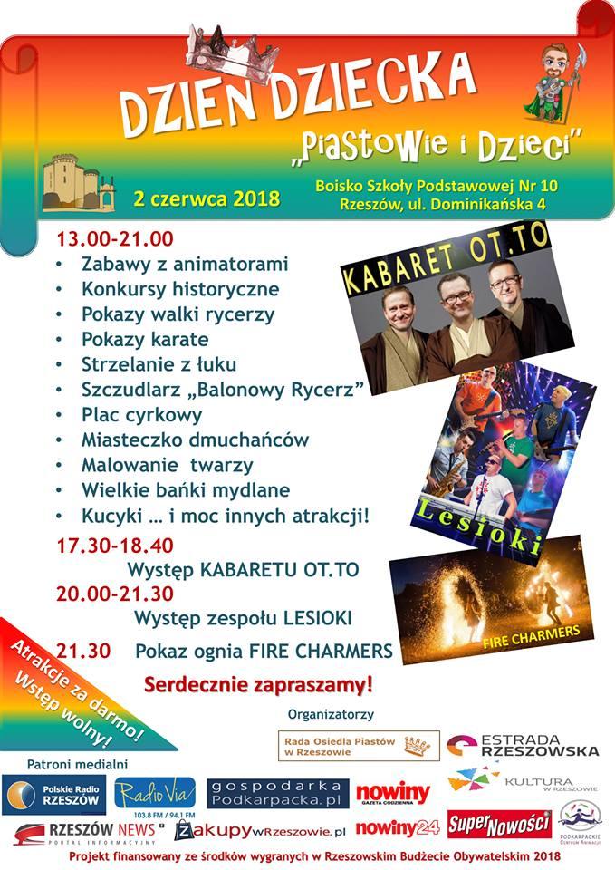 """W sobotę w Rzeszowie festyn """"Piastowie i Dzieci"""". Pokaz ognia, Kabaret OT.TO..."""