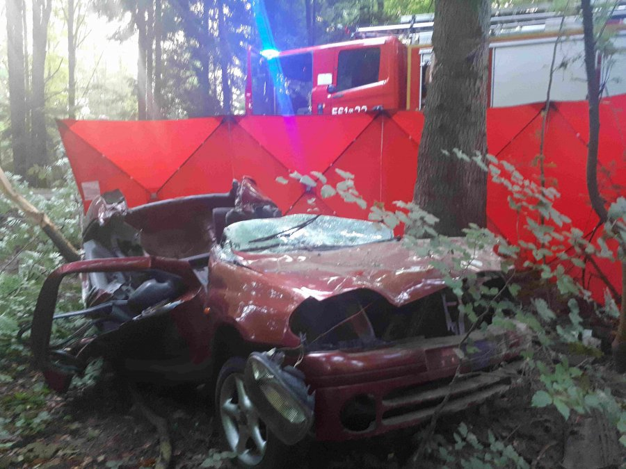 Tragiczny wypadek w Strzyżowie. W samochodzie znaleziono zwłoki 20-letniego kierowcy